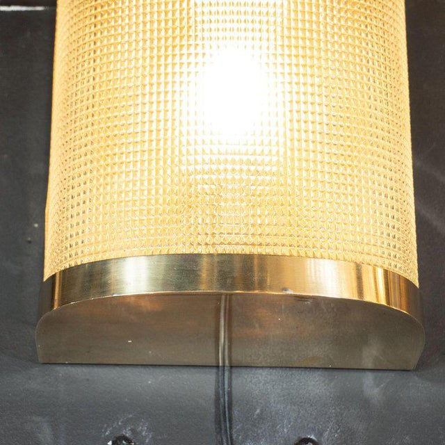 1950s Mid-Century Modern Brass Wrapped Sconces With Rectilinear Textured Glass Shades - a Pair For Sale - Image 5 of 7