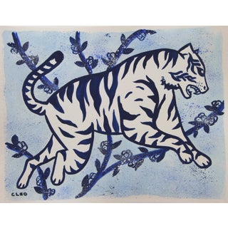 Chinoiserie White Tiger Jungle Painting by Cleo Plwden For Sale