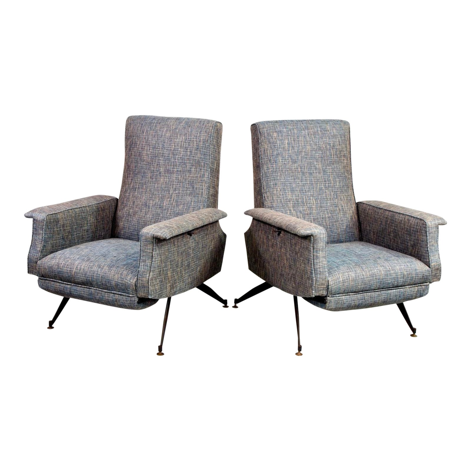 Italian Mid Century Lounge Chairs With New Tweed Upholstery A Pair Chairish,How To Make A Candle Wick Stay
