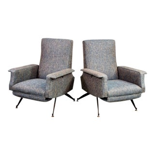 Italian Mid Century Lounge Chairs With New Tweed Upholstery - a Pair For Sale