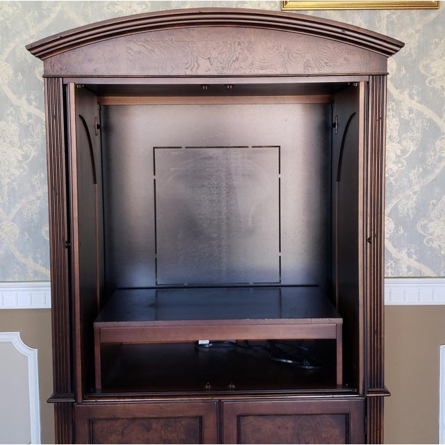 Wood Hekman Furniture Burl Walnut Contemporary Entertainment Tv Armoire Cabinet For Sale - Image 7 of 13