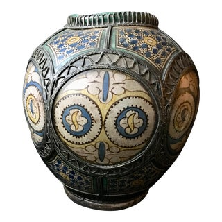 Moroccan Pottery With Filagree Casing For Sale