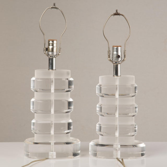 1970s 1970s Mid-Century Modern Lucite Lamps - a Pair For Sale - Image 5 of 13