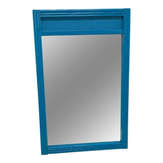 1960s Boho Chic Teal Lacquered Faux Bamboo & Cane Wall Mirror For Sale