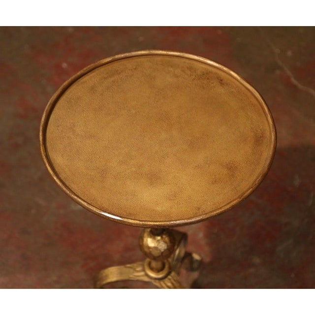 French 1920's French Gilt Painted Iron Pedestal Martini Side Table For Sale - Image 3 of 7