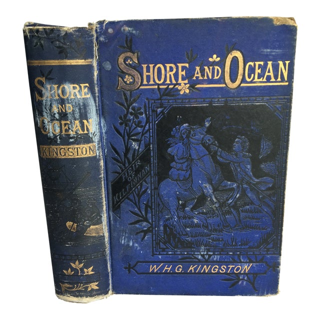 "1881 ""Shore and Ocean"" Blue Clothbound Hardcover Book For Sale"