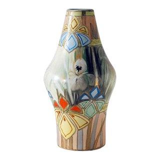 Antique Japanese Art Deco Nippon Vase, Royal Nishiki Pottery For Sale
