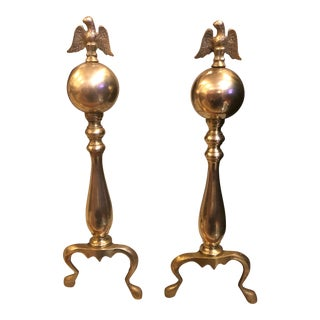 Early 20th Century Antique Brass Federal Style Andirons - A Pair For Sale