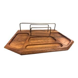 Mid-Century Walnut Desk Organizer / Dresser Tray For Sale