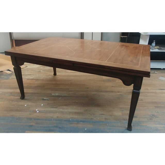 Henredon Furniture Acquisitions European Refectory Medium Walnut Dining Table w/ self storing leaves Sale includes one...