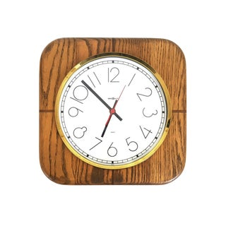 Postmodern Howard Miller Inlaid Wood Wall Clock With Oak and Walnut For Sale