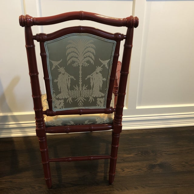 1990s 1990s Vintage Faux Bamboo Dining Chairs - Set of 6 For Sale - Image 5 of 12