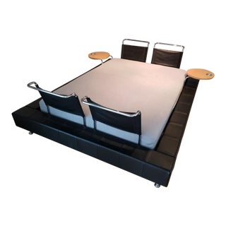 Modular Leather/Chrome Queen Bed For Sale