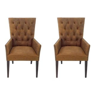 Vintage Style Leather Tufted Rust Brown Transitional Arm Chairs Pair For Sale