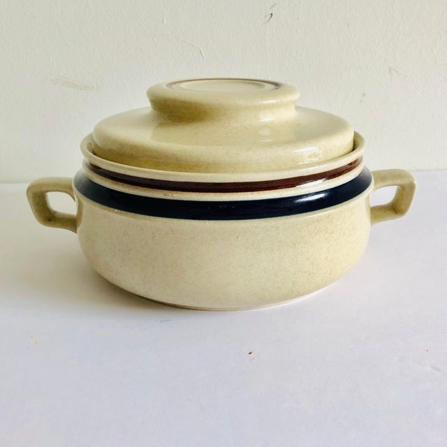 Modern Stoneware Hand Painted Chateau Lidded Bean Bowl For Sale - Image 4 of 6