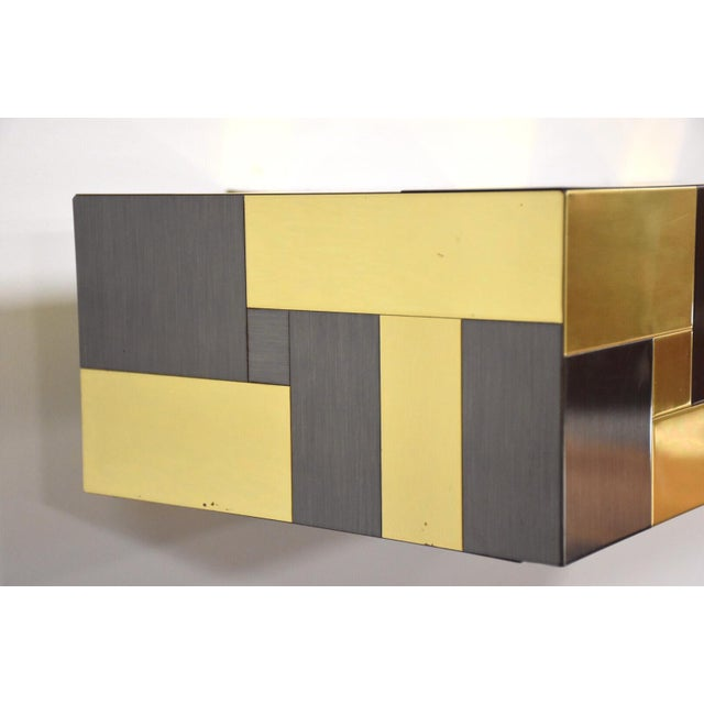 Mid-Century Modern Paul Evans Brass and Gunmetal Floating Console Shelf For Sale - Image 3 of 10