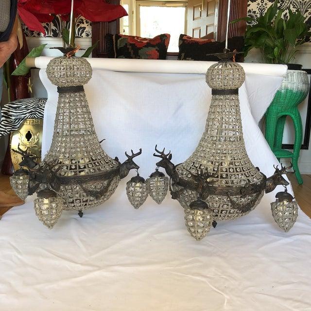 Bronze 10 Light Deer Head Chandelier For Sale - Image 11 of 11