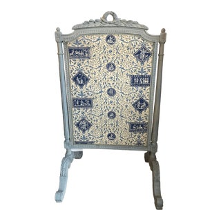 French 19th C. Hand Carved Wood Painted Fire Screen With Blue & White Toile. For Sale