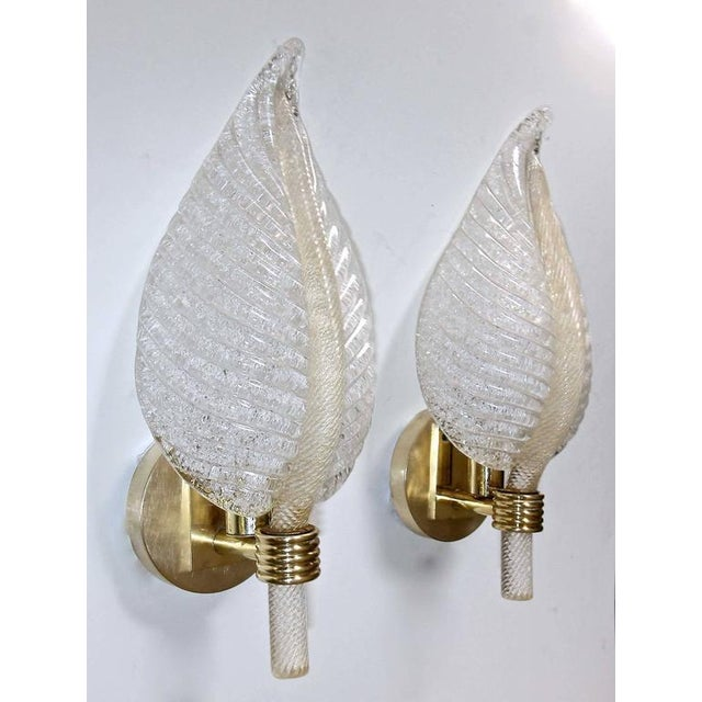 Mid-Century Modern 1950s Mid-Century Modern Barovier Murano Rugiadoso Leaf Wall Sconces - a Pair For Sale - Image 3 of 11