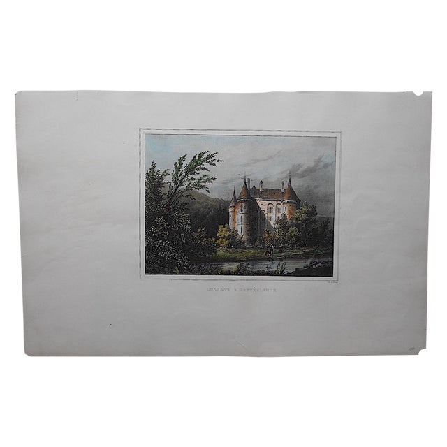 Antique Chateaux De France Lithograph For Sale