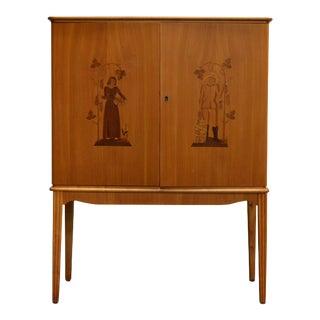 Swedish Art Moderne Intarsia Storage, Bar Cabinet For Sale