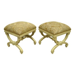 Late 20th Century Cream Painted Italian Regency Style Carved Wood X-Frame Curule Stools- A Pair For Sale
