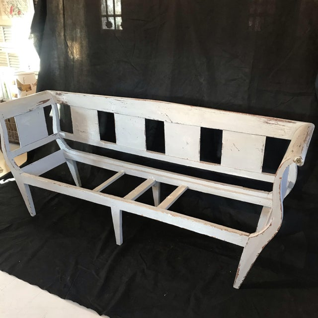 Gustavian Grey Painted Rustic Bench With Original Rush Seat For Sale - Image 11 of 13