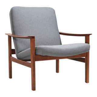 Vintage 1950s Mid-Century Swedish Modern Marharam Upholstered Teak Lounge Chair For Sale