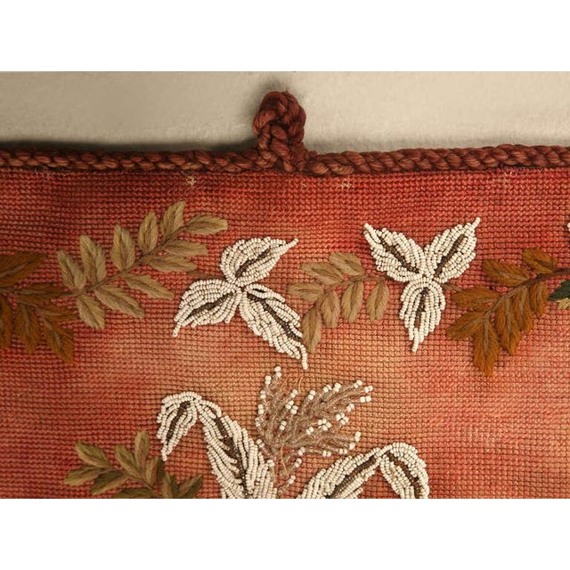 Mid 19th Century Original Antique Hand-Beaded Fireplace Screen For Sale - Image 5 of 10