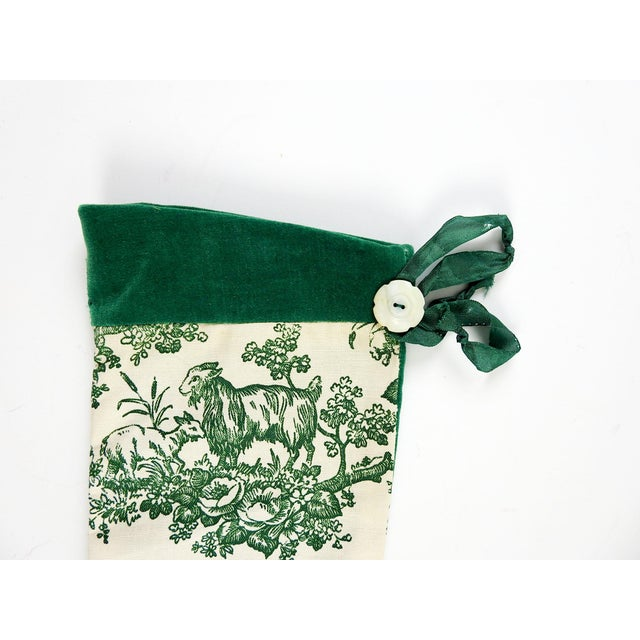 Vintage Green Toile Christmas Stocking - Image 4 of 4