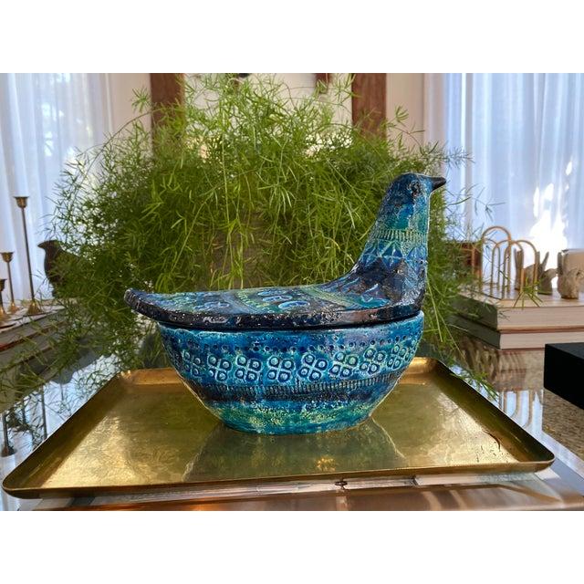 Blue Vintage Bisotti Bird Vessel For Sale - Image 8 of 8