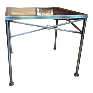 Accent Side Table With Beveled Glass Top and Brass Frame