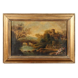 19th Century Landscape Painting in Gilt Frame From Italy Circa 1860 For Sale