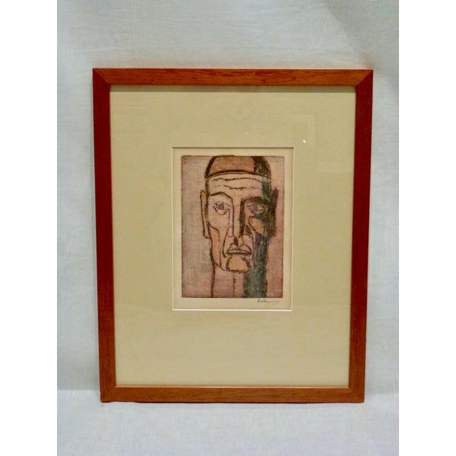 Boldly Colored Original French Cubist Movement Block Print Portrait of a Man. Signed by Artists. Handsomely Matted and...