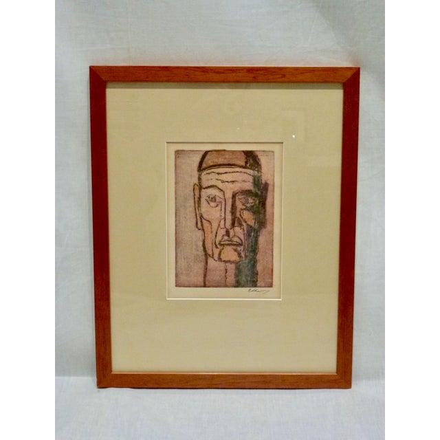 Original Cubist Movement Block Print Portrait - Image 2 of 9