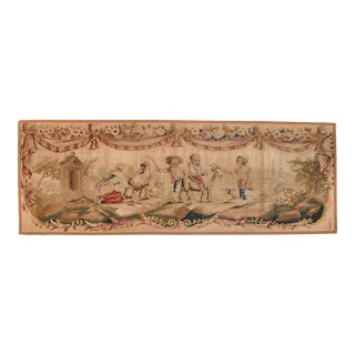 19th Century Antique Aubusson Pictorial French Tapestry, Hand Knotted For Sale