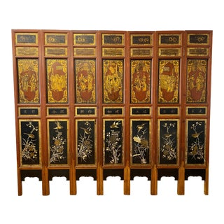 Vintage Asian Hand Carved & Painted Seven Panel Folding Screen C.1930 For Sale