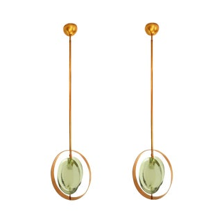 Mid Century Modern Max Ingrand Style Brass & Glass Pendants- Set of 2 For Sale