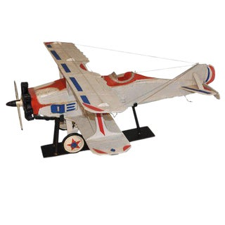 Bi-Plane Airplane Model on Stand For Sale