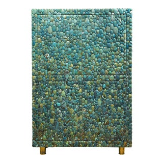 Kam Tin - Turquoise Cabinet With Four Opening Doors, Made of Turquoise Cabochons