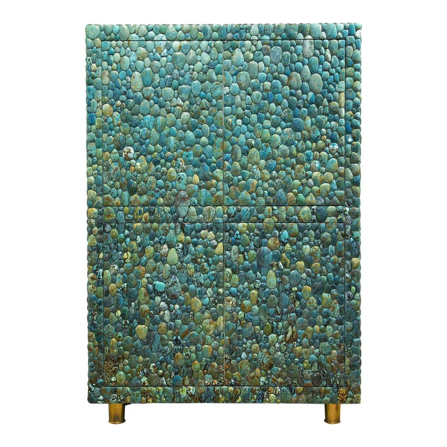 Kam Tin - Turquoise Cabinet With Four Opening Doors, Made of Turquoise Cabochons For Sale