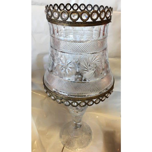 Metal American Brilliant Cut Crystal Lamp For Sale - Image 7 of 9