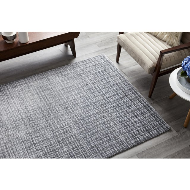 Wesley, Contemporary Modern Loom Knotted Area Rug, Charcoal, 4 X 6 For Sale In New York - Image 6 of 10