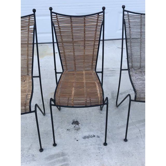 Set of 6 Mid-Century Ficks Reed Bamboo and Metal Chairs For Sale - Image 9 of 13