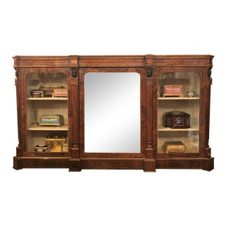 Antique English Burled Walnut, Briarwood and Satinwood Mirrored Credenza, Circa 1880. For Sale