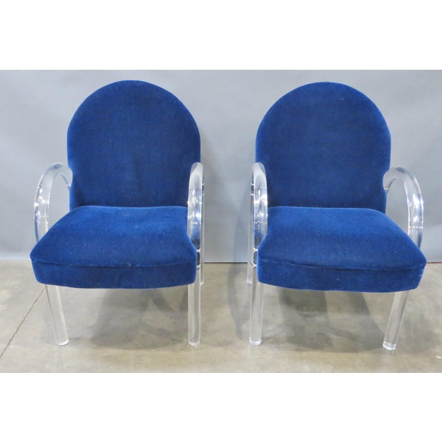 Pair of Pace Collection Lucite Waterfall Dining or Side Chairs Circa 1980 For Sale - Image 11 of 12