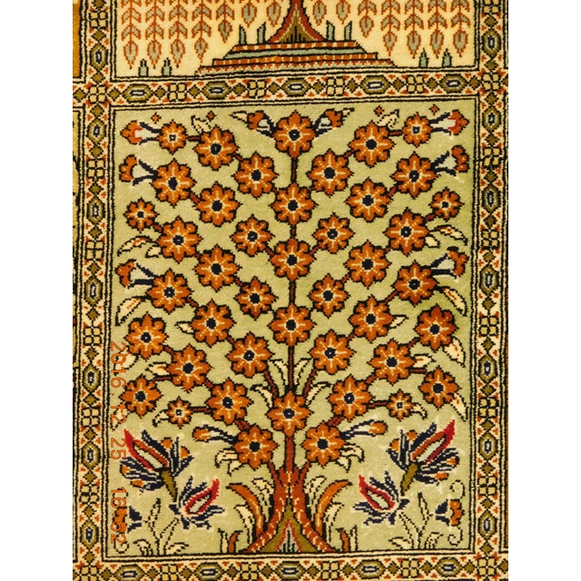 """Hand Knotted Pure Silk Persian Qom Rug - 4'10"""" x 4'10"""" - Image 6 of 9"""