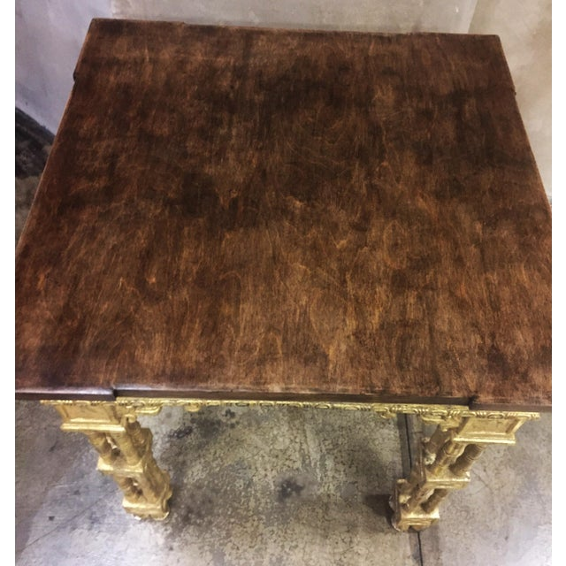 Chinese Chippendale Style Gold Leaf Side Table For Sale In Los Angeles - Image 6 of 8