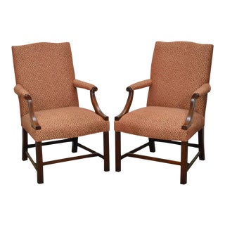 Chippendale Style Custom Mahogany Library Arm Chairs - A Pair