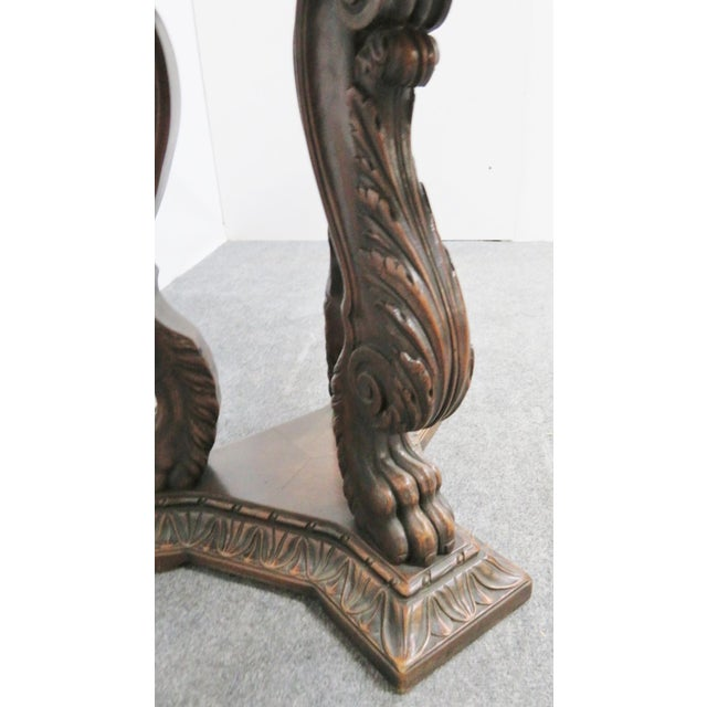 Italian Style Walnut Carved Center Table For Sale - Image 4 of 6